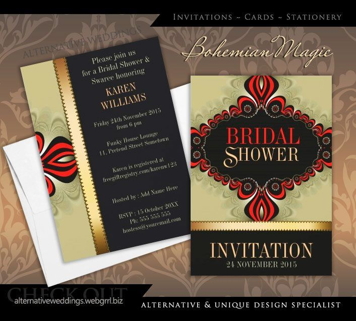 Bohemian Magic Bridal Shower Custom Invitations