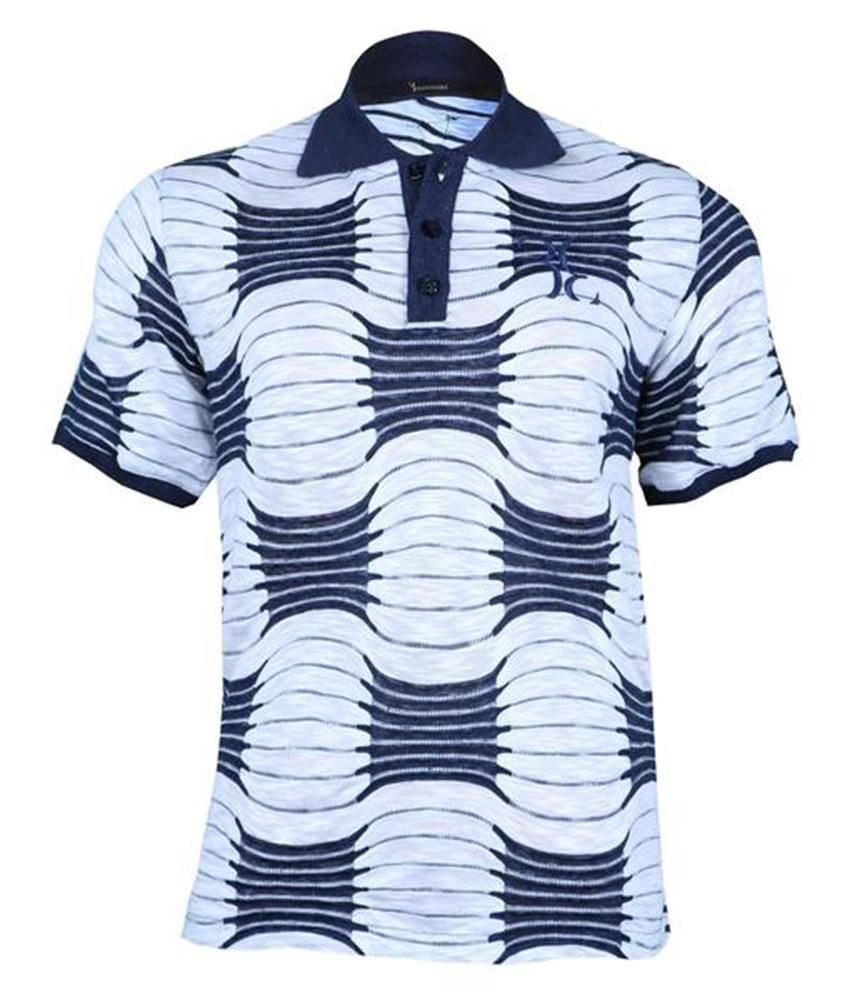 4d64e0b7 Patterned Polo T-Shirt – White blue viscose-linen-polyamide blend ...