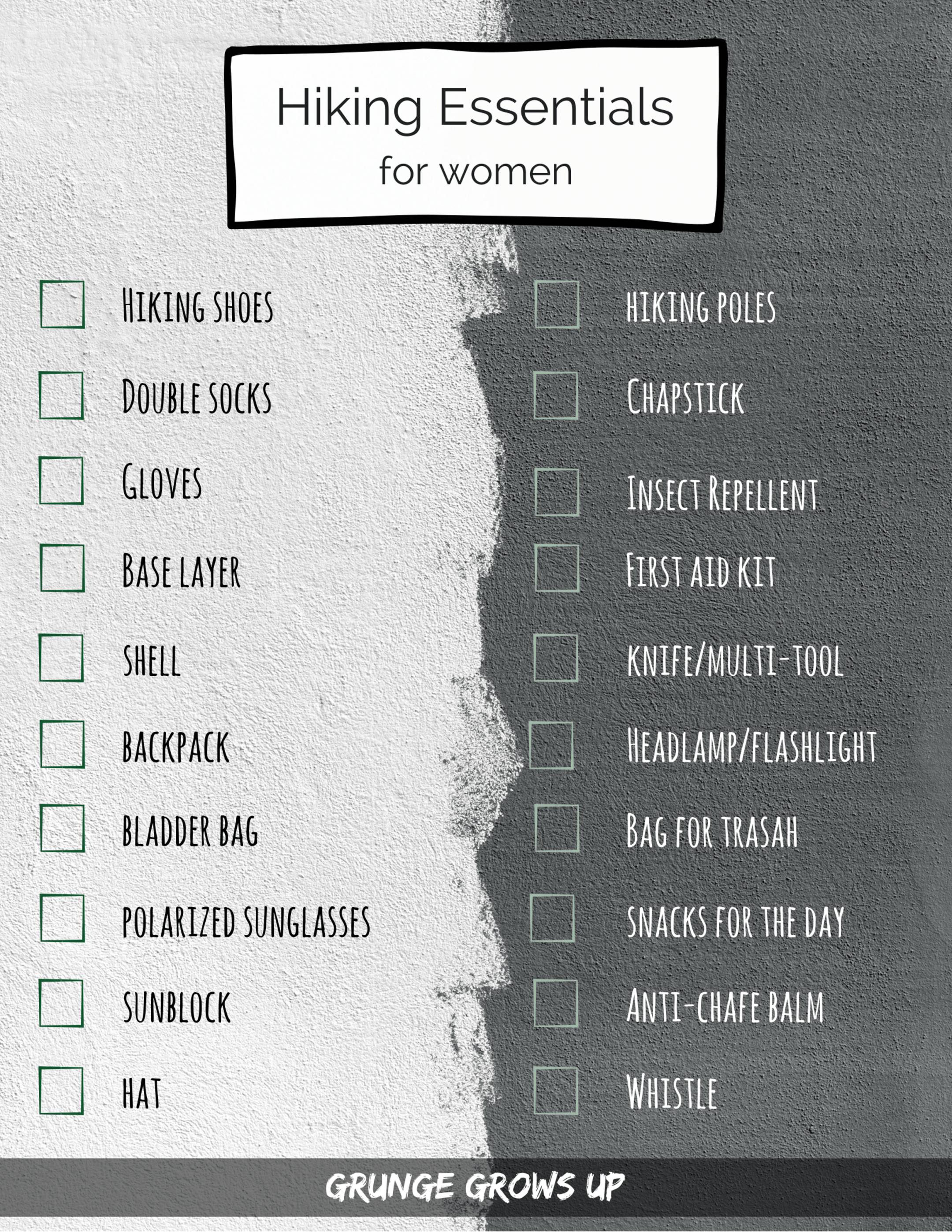 Day Hiking Essentials for Woman with Hiking Gear Checklist