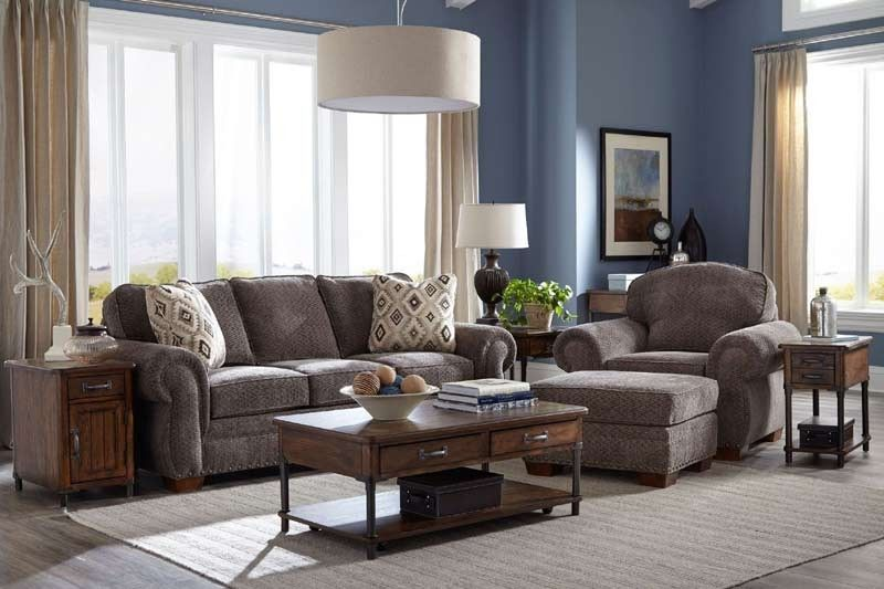 Broyhill Furniture Cambridge Walnut Chenille Fabric 3 Piece