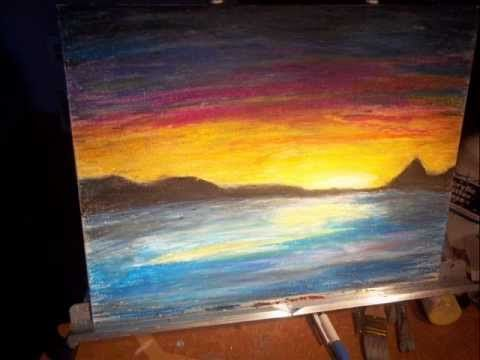 Art Time Lapse Oil Pastel Sunrise On Canvas Oil Pastel Art