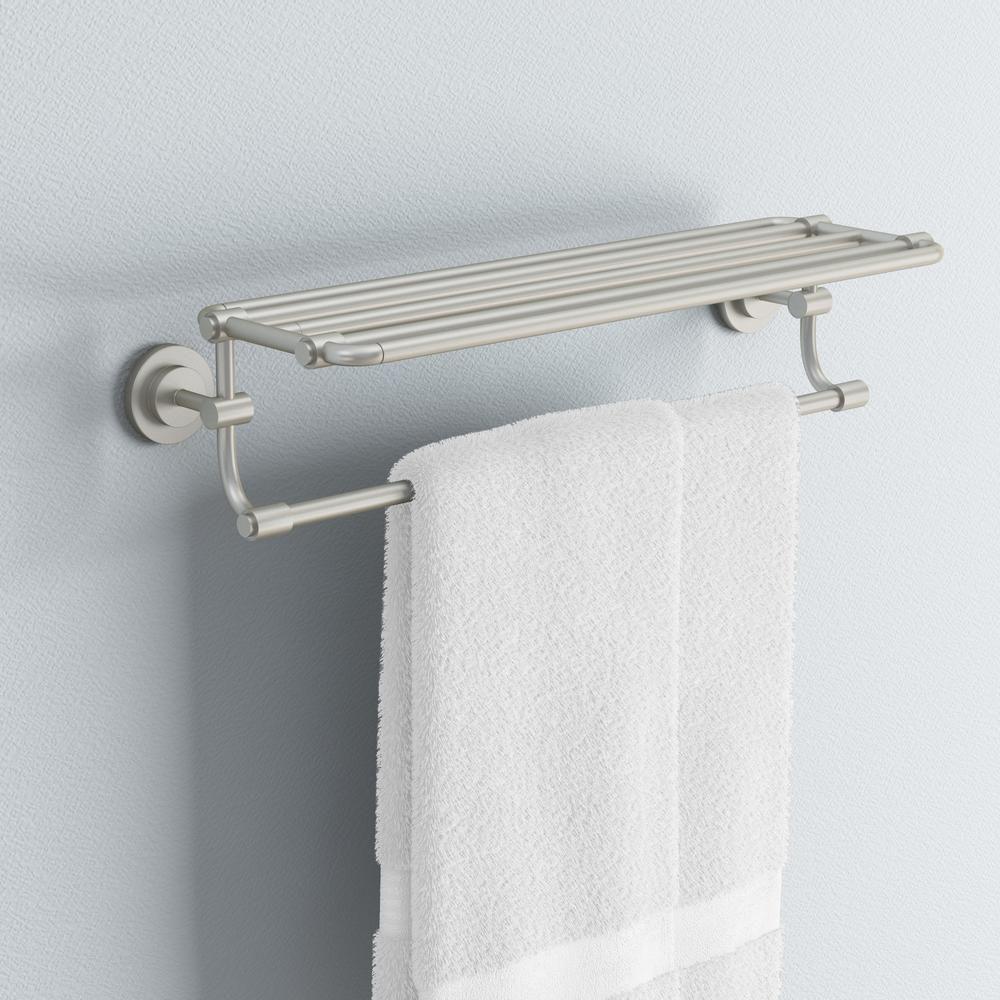 Moen Iso 26 95 In W Hotel Style Towel Shelf In Spot Resist Brushed Nickel Dn0794bn The Home Depot Bathroom Styling Shelves Hotel Style