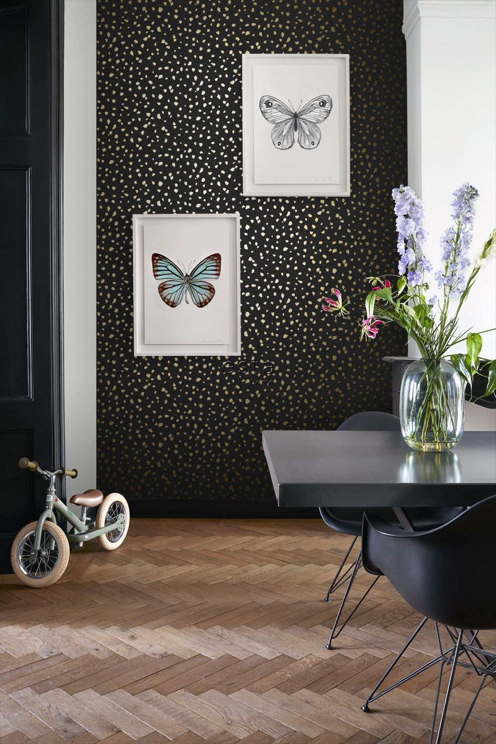 Wallpaper Terrazzo Black And Gold 139134 1000 Accent Wall Bedroom Gold Accent Wall Gold Accent Wall Bedroom