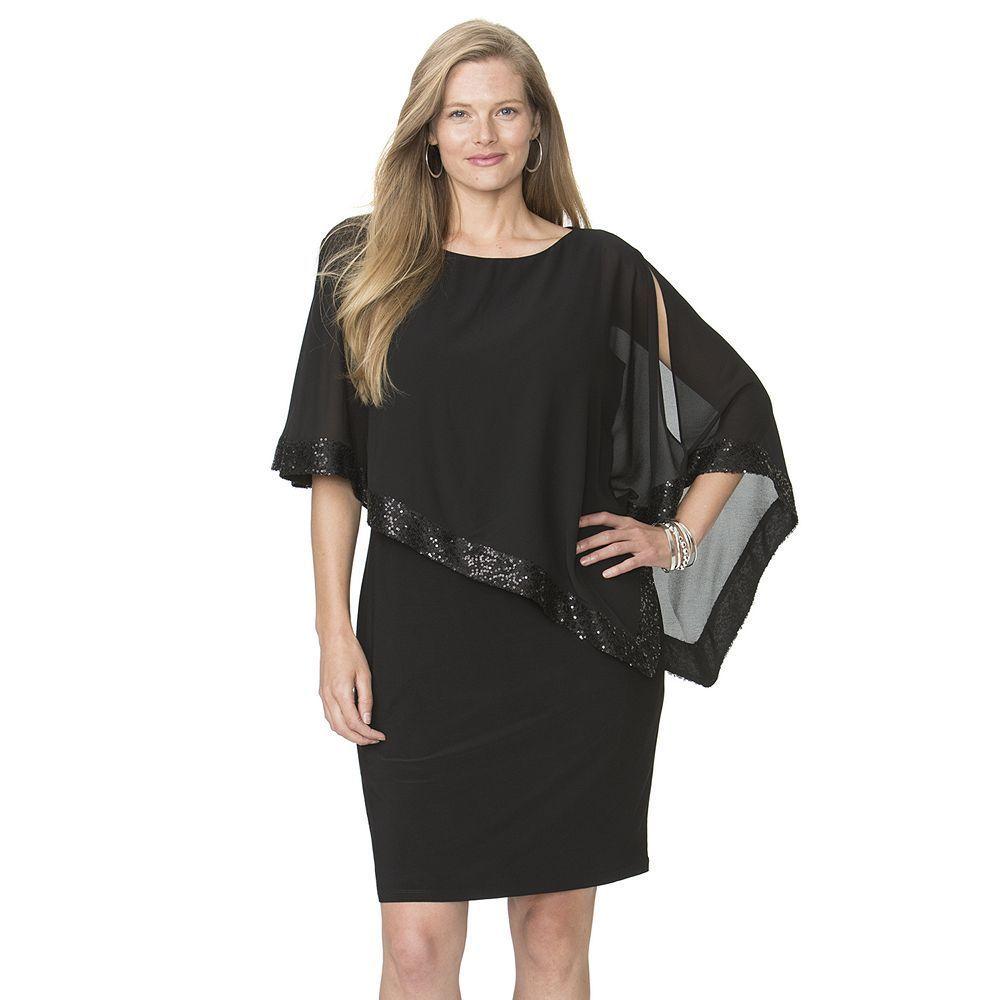 59b7dbb52aef Plus Size Chaps Sequin Cold-Shoulder Chiffon-Overlay Evening Dress,  Women's, Size: 20 W, Black