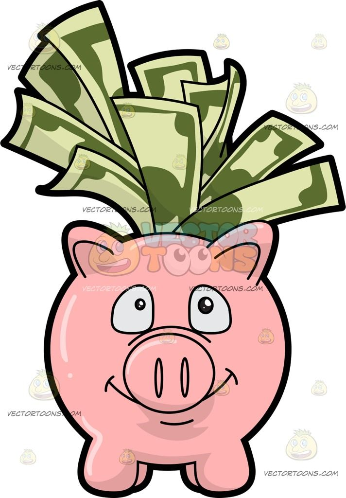 a piggy bank filled with dollar bills pink piggy bank piggy banks rh pinterest com dollar bill clip art template dollar bill clipart images
