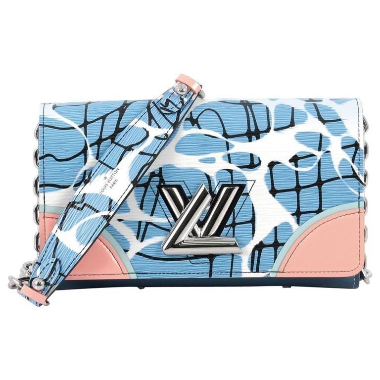 fb67268c0476 Louis Vuitton Twist Chain Wallet Limited Edition Aqua Print Epi Leather