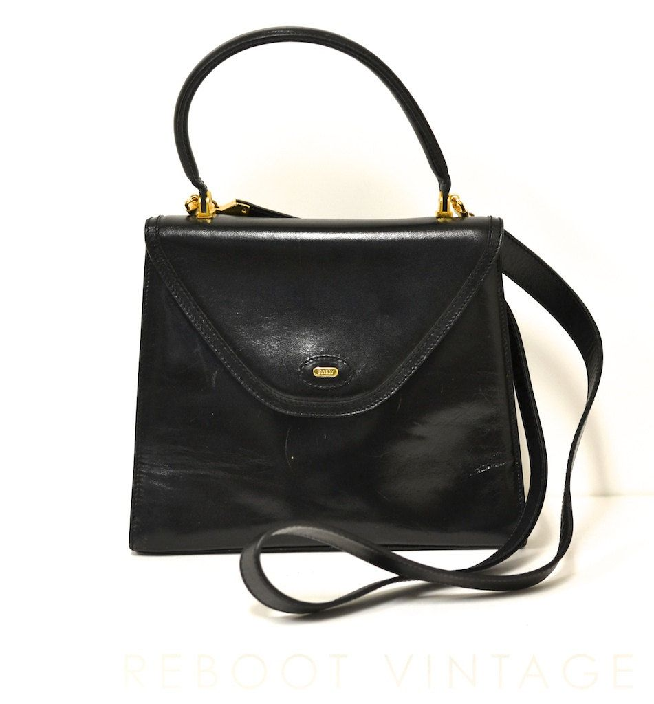 2cf734d2a5840 Vintage BALLY Italy Black Smooth Leather Convertible Top Handle ...