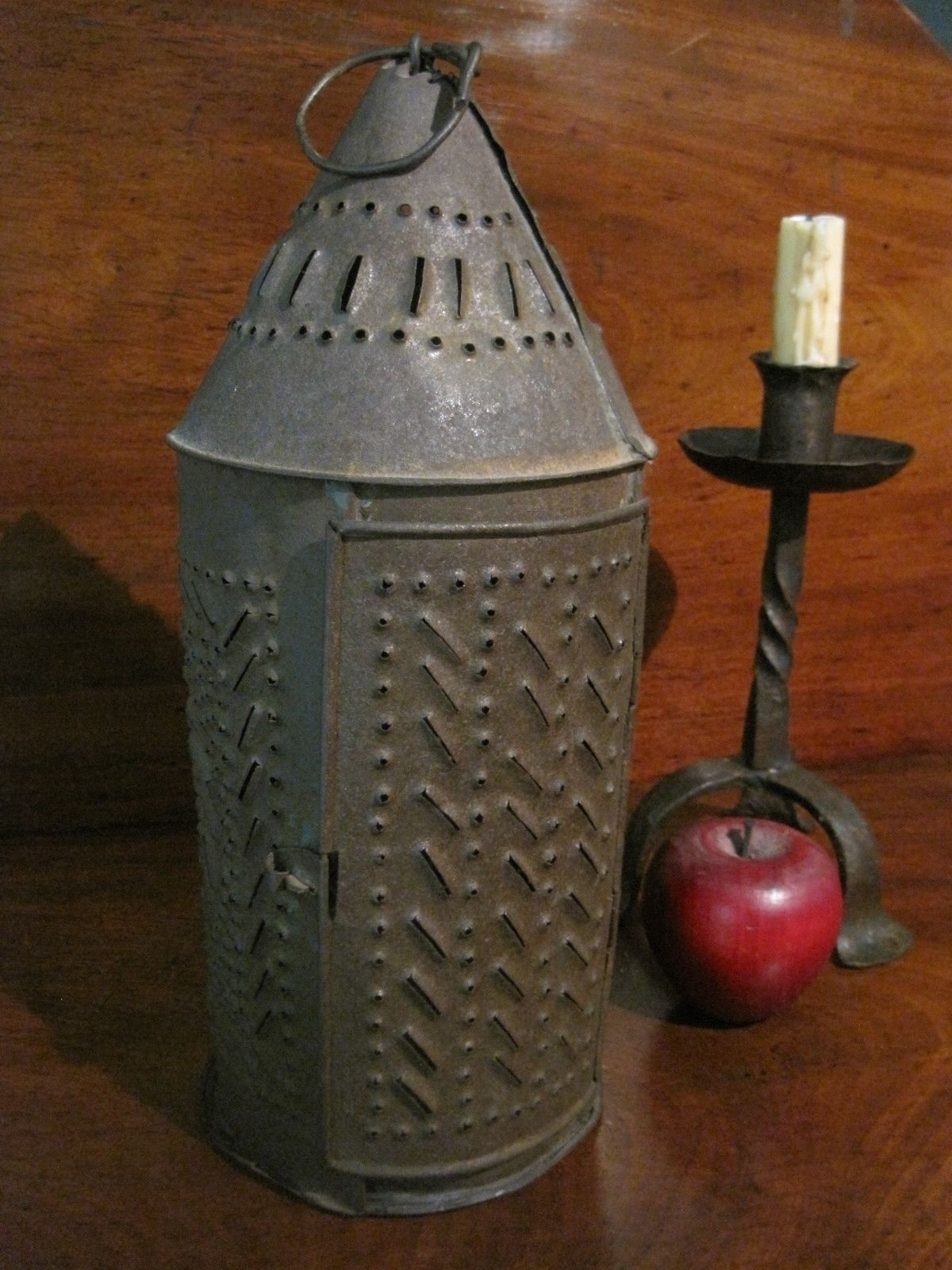 Antique 1800s New England Folk Art Punched Tin Candle Holder Lantern Sold Ebay 375 0 Tin Candle Holders Primitive Candle Holders Lantern Candle Holders