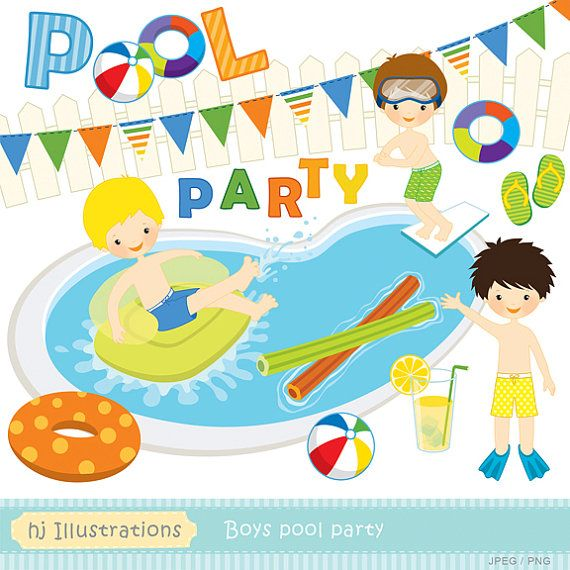 Boys Pool Party Digital Clipart Scrapbooking Web Design