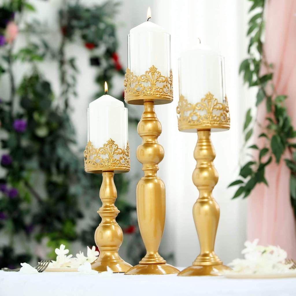 Set Of 3 Lace Design Gold Amber Hurricane Glass Candle Holder Set With Glass Tube 12 14 17 Glass Candle Holders Glass Hurricane Candle Holder Candle Holder Set