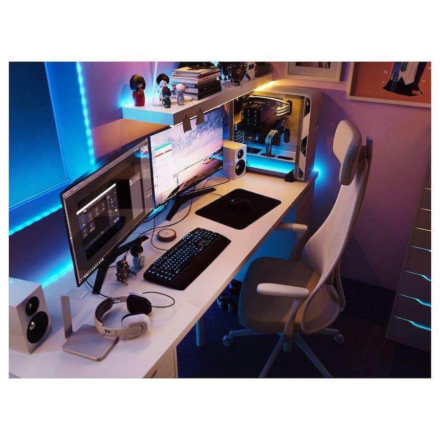 Linnmon Alex Table Blanc 200x60 Cm Ikea In 2020 Room Setup Gaming Room Setup Bedroom Setup