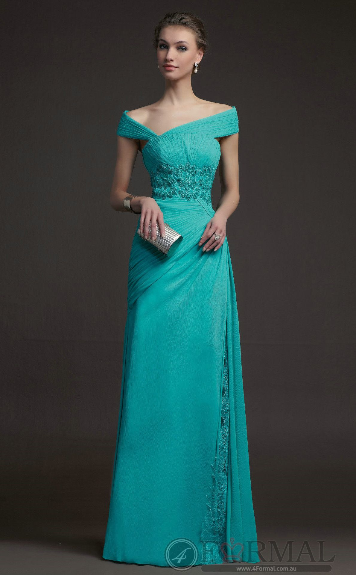 For Women Long Green Lace Semi-Formal Prom Dress at 4formal.com.au ...