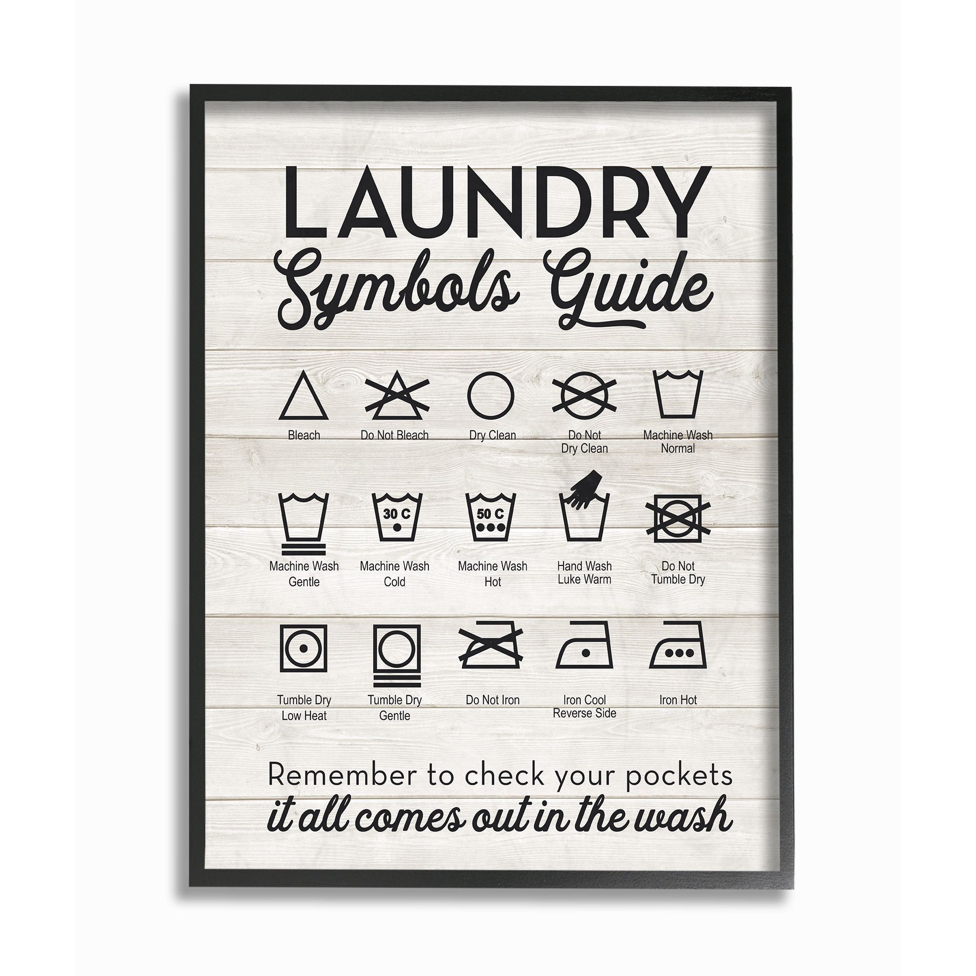 Laundry Symbols Wall Art Stupell Laundry Symbols Guide Typography Framed Giclee Texturized
