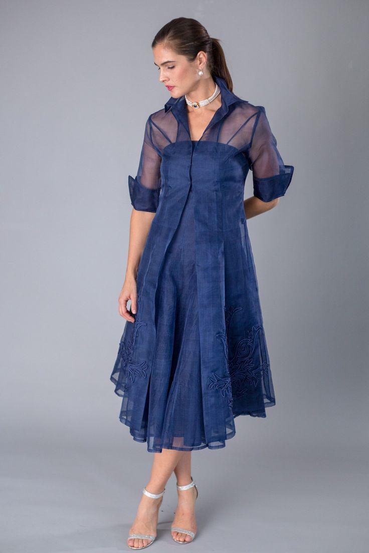 Celebrate in silk the navy blue pure silk organza coat