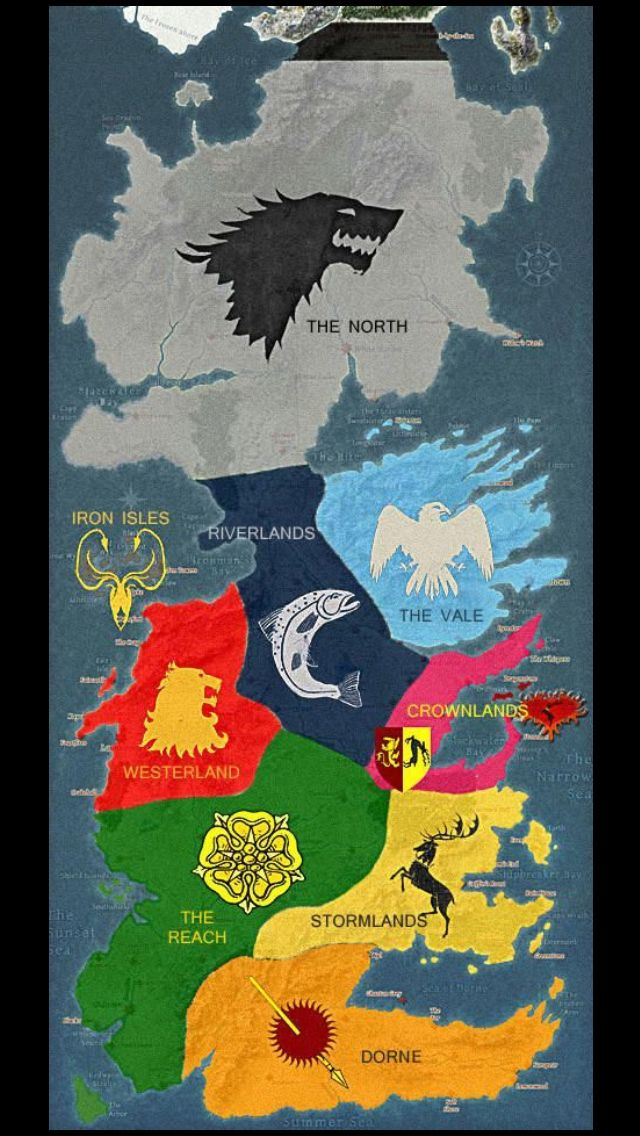 The Seven Kingdoms Game Of Thrones Map Game Of Thrones