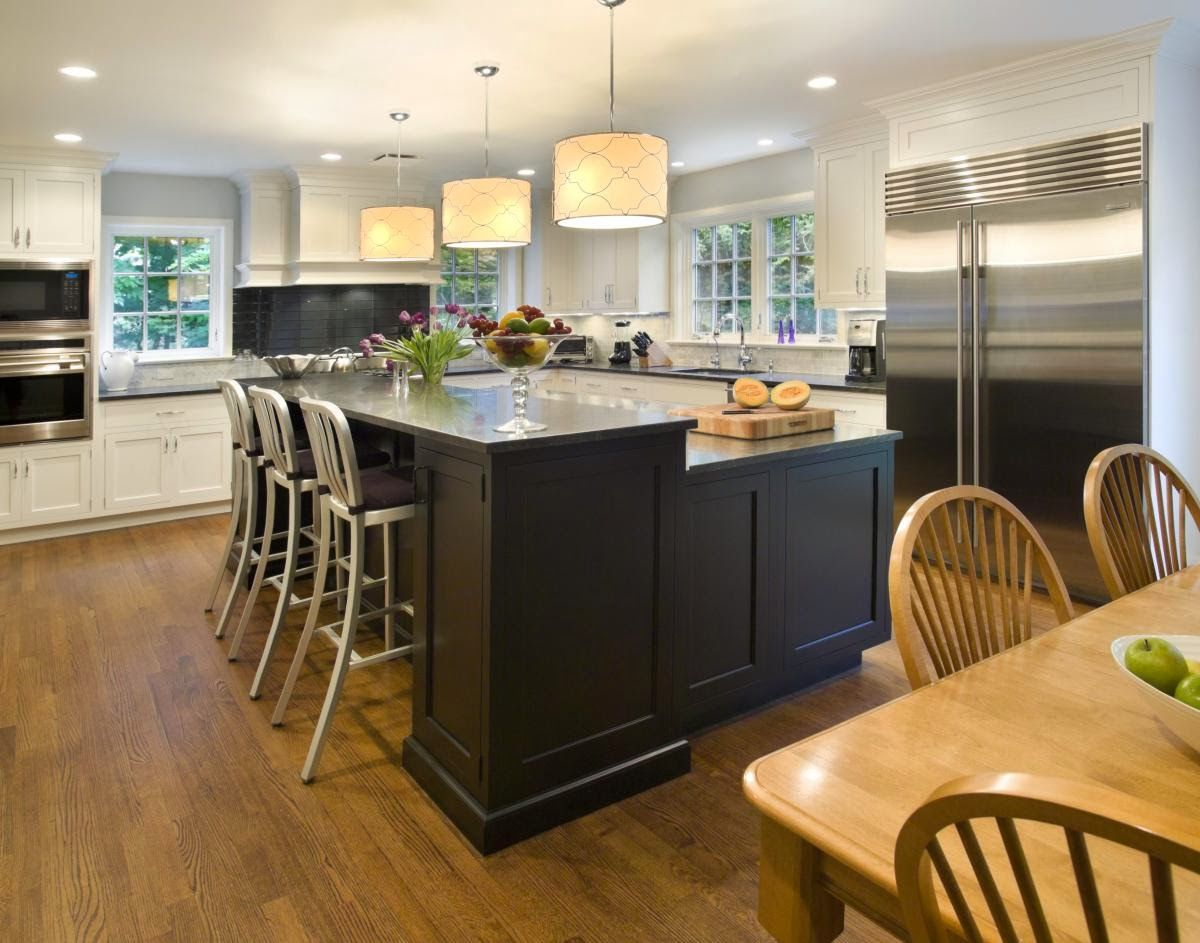 Kitchen Design Layout Ideas L-Shaped Transitional Lshaped Yellow Kitchen Walnut Cabinets $20000