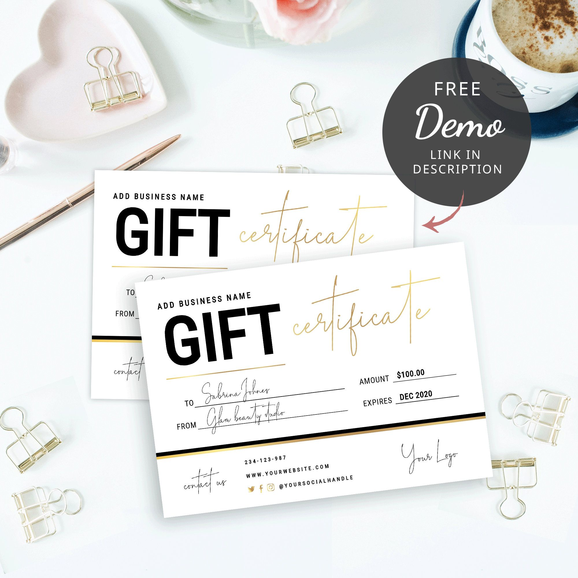 Editable Gift Certificate Template Printable Gift Vouchers Etsy In 2021 Photography Gift Certificate Template Gift Certificate Template Gift Card Template