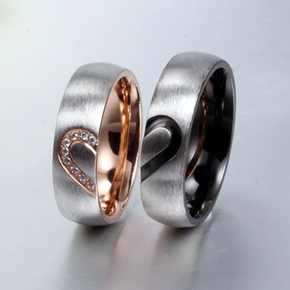 His And Her S Love Heart Rings Puzzle Heart Couples Rings