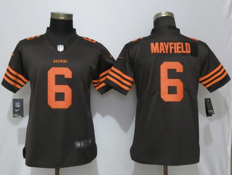 Women Cleveland Browns 6 Mayfield brown Nike Vapor Untouchable Elite Playe  NFL Jerseys 2078f5888