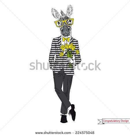 Hand drawn illustration of zebra gentleman with flowers, greeting card design - stock vector