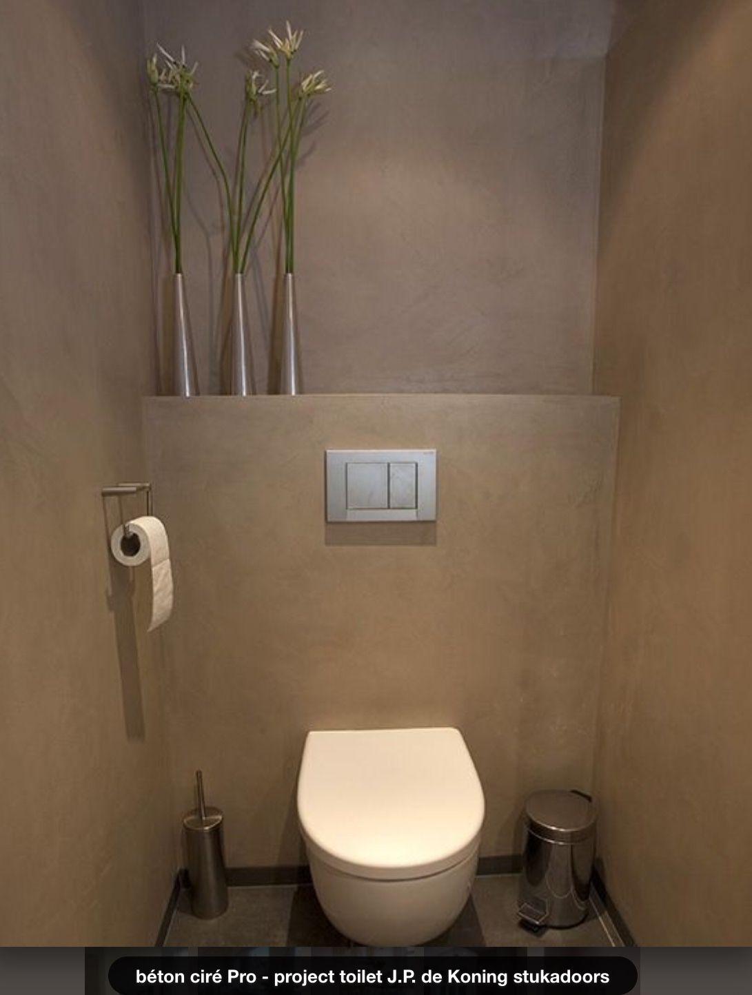 Beton cire in toilet d co en 2018 pinterest - Decoration wc sous escalier ...