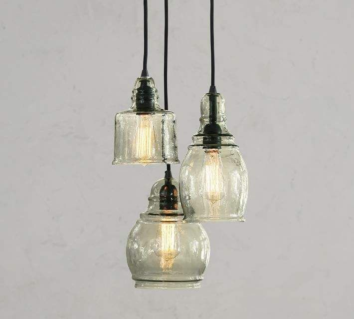 Pottery Barn Paxton Glass 3 Light Pendant With Images Pendant