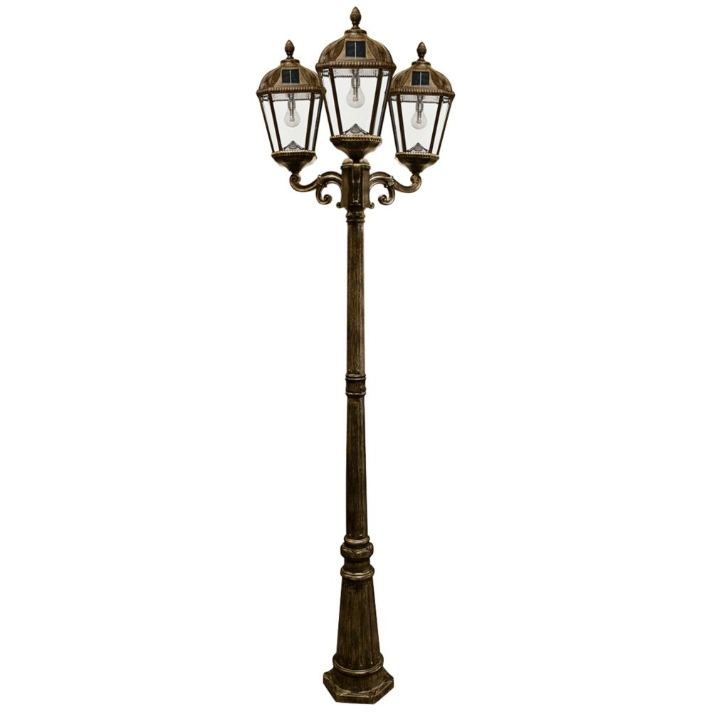 Royal Bulb 89 H Bronze 3 Lamp Solar Led Outdoor Post Light 13x07 Lamps Plus Outdoor Post Lights Post Lights Solar Led