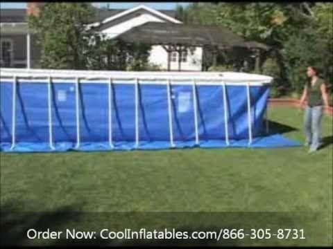 Intex rectangular metal ultra frame pool video assembly - Ultra frame rectangular swimming pool ...