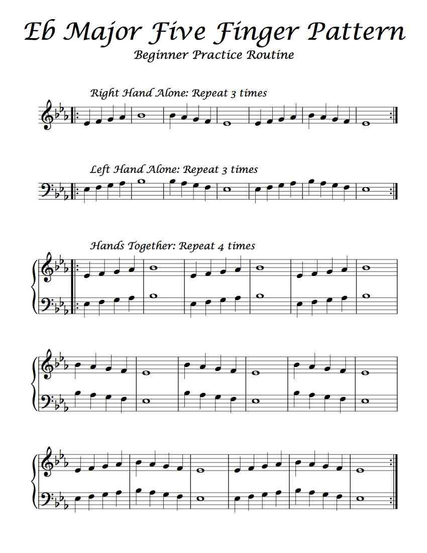 Here Is A Beginning Practice Routine Of Eb Major S Five Finger