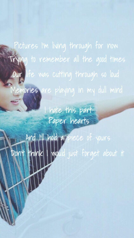 BTS || Paper hearts lyric || Jungkook wallpaper for phone