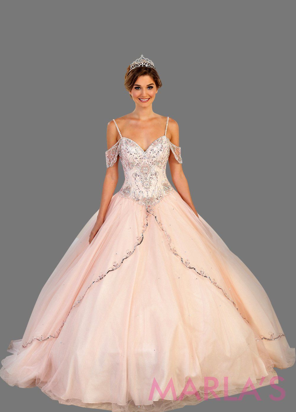 f19dbd7a764 Long off shoulder light pink princess ball gown with rhinestone beading.  Perfect for Engagement dress