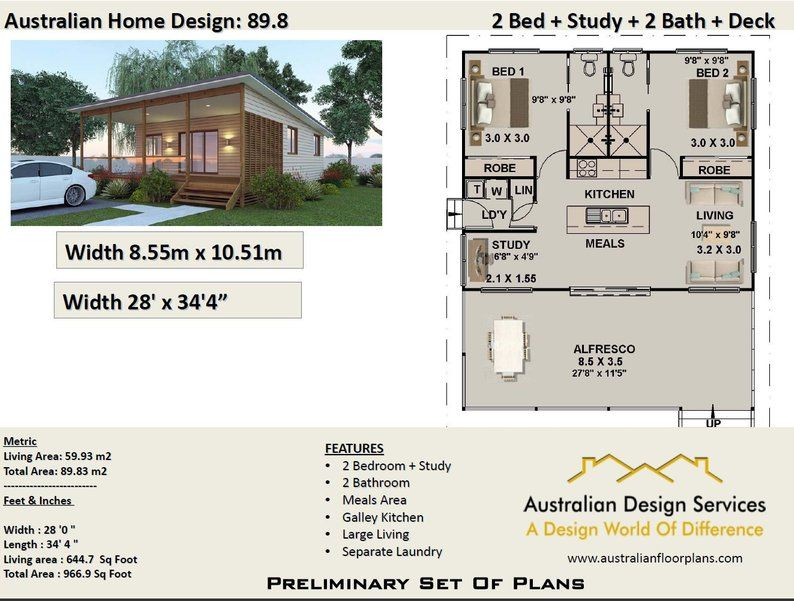 2 Bedroom House Plan 89 8 M2 Or 966 Sq Foot Australia And Usa Concept Plans Blueprints For Sale Unique Small House Plans Bedroom House Plans 2 Bedroom House Plans