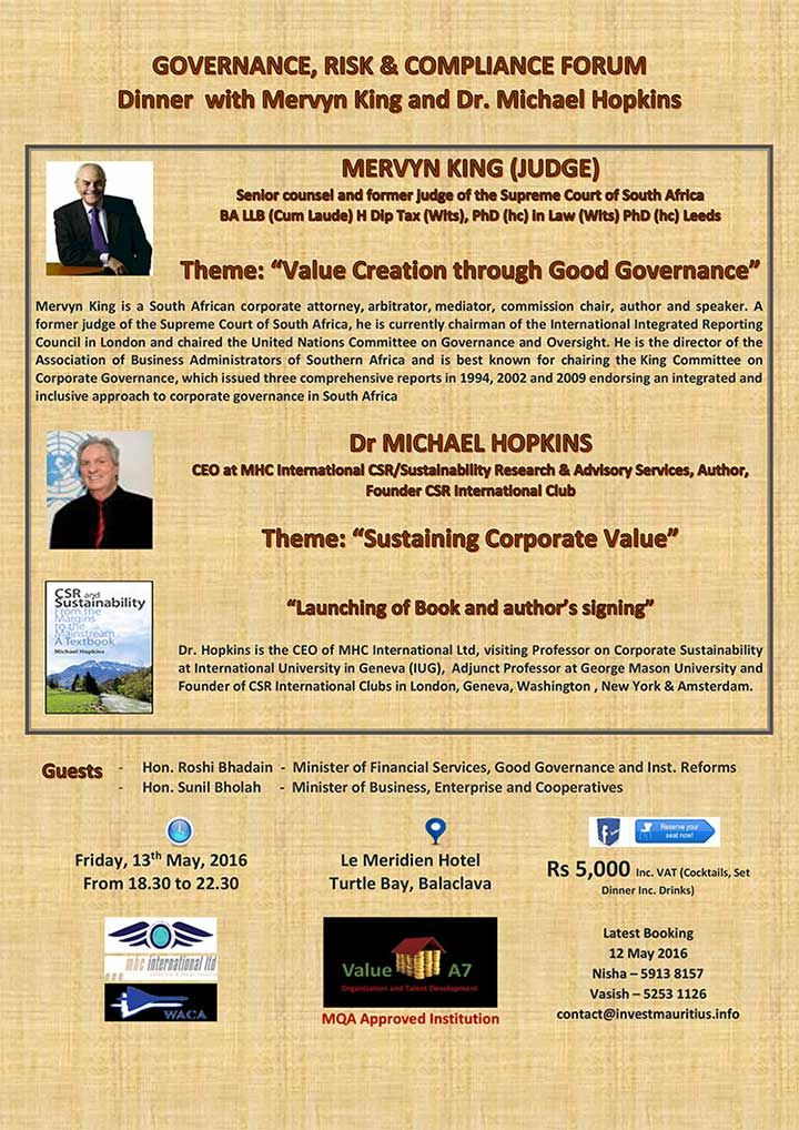 Value A7 Governance And Compliance Forum And Dinner With Mervyn