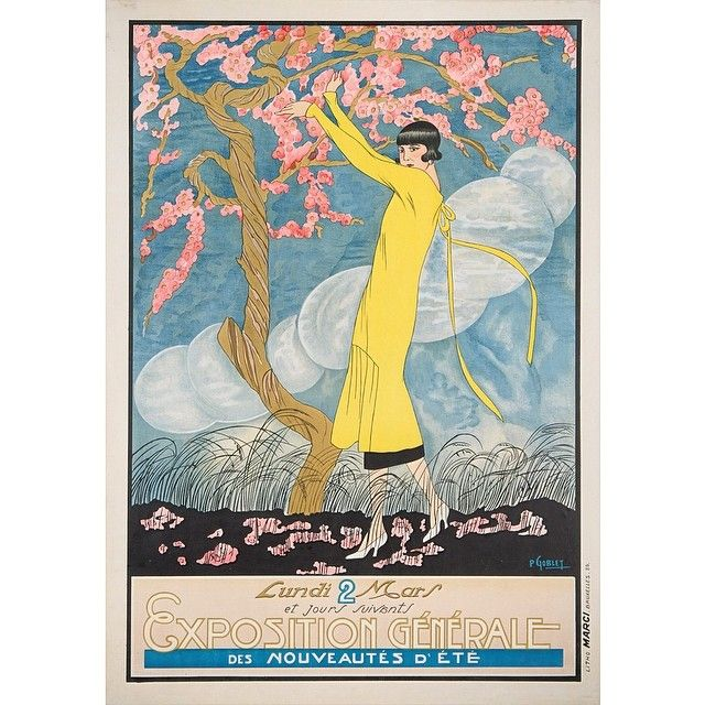 1920s Art Nouveau Yellow Dress and Pink Blossoms. Affiches Marci. Check this out on Instagram.com