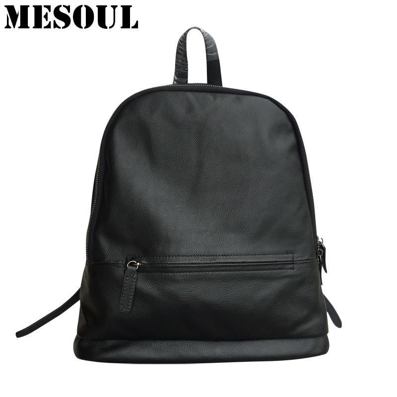 ab8ba994b7c2 Brand Backpack Bag Women Genuine Leather Daily School Bags Female Fashion  Shoulder Travel Bags Black backpacks for teenage girls.