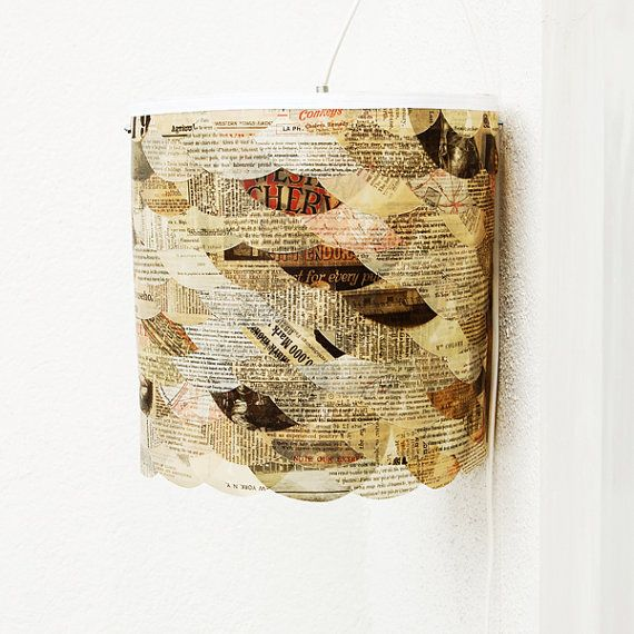 lamp shade out of old books & magazine pages