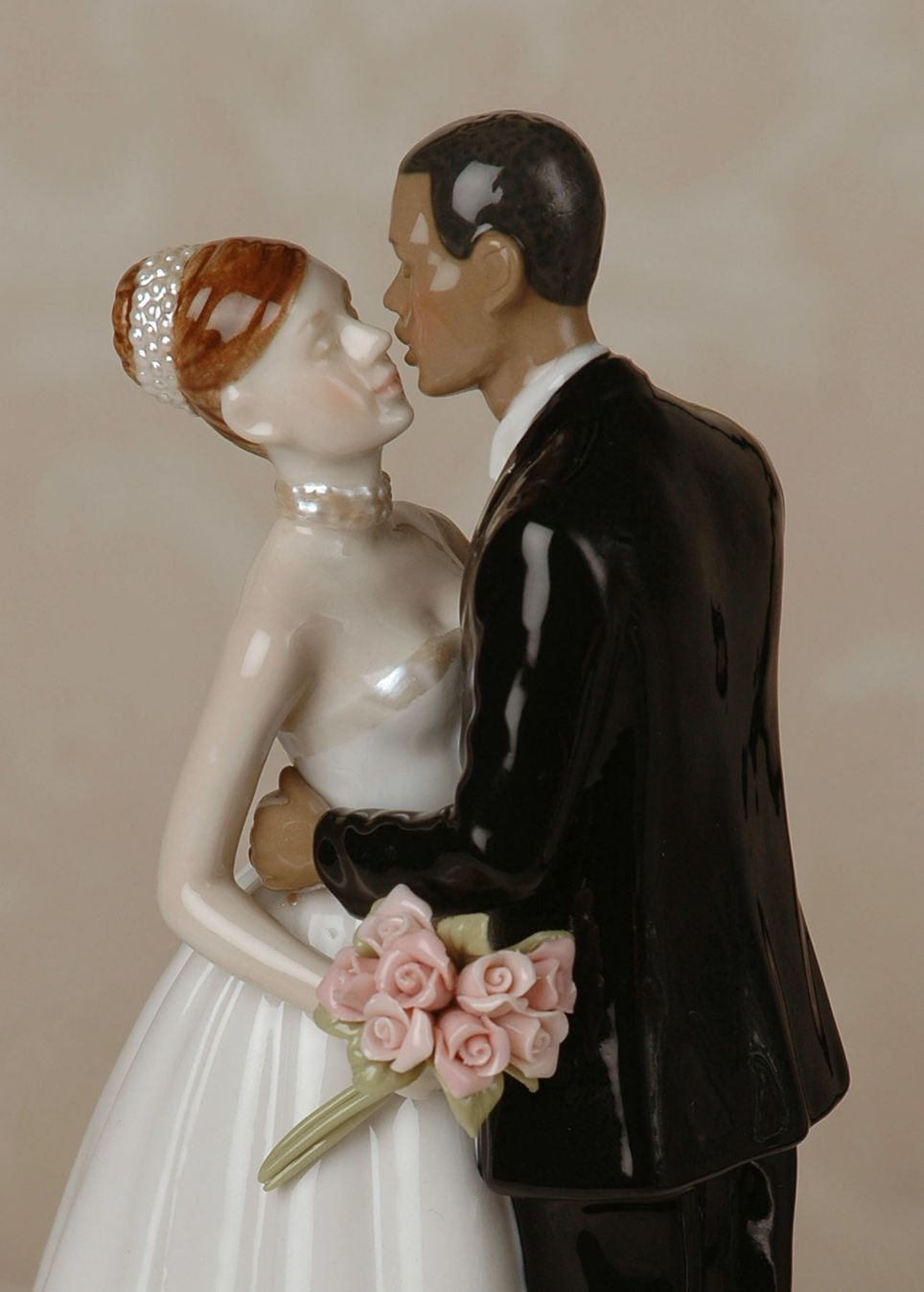 Porcelain Interracial Bi Racial Wedding Cake Topper Ethnic African American Black Groom White Caucasian Brunette Hair Bride From Blind Heart Signature