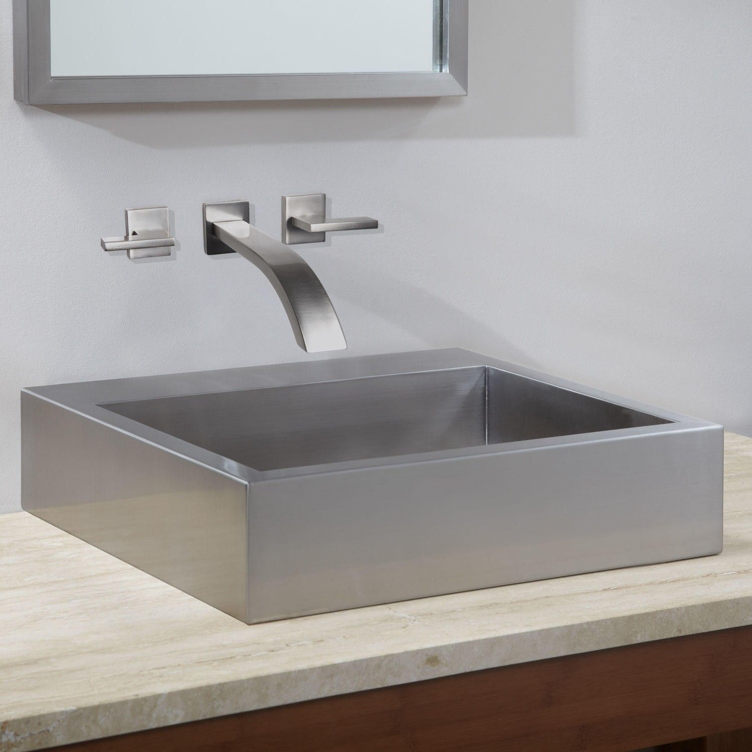 20 Clarendon Stainless Steel Square Vessel Sink Simple Bathroom