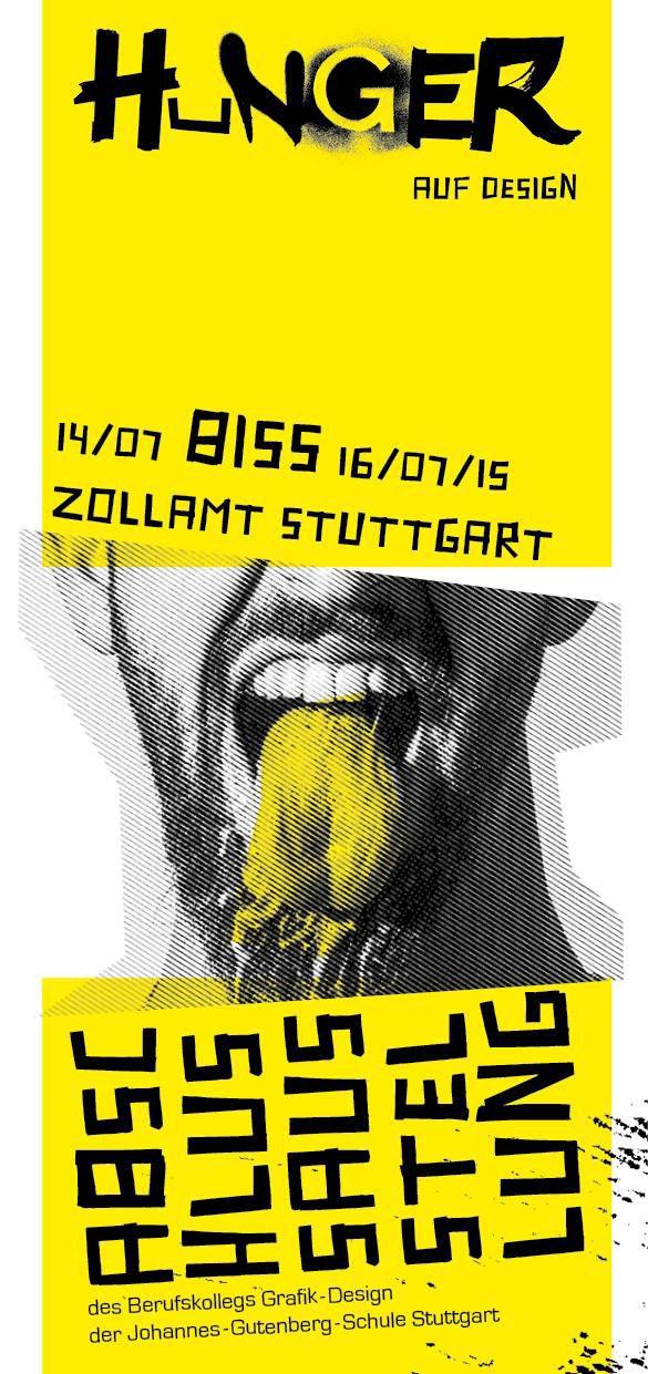 Grafik Designer Stuttgart hunger flyer front typography johannes gutenberg and