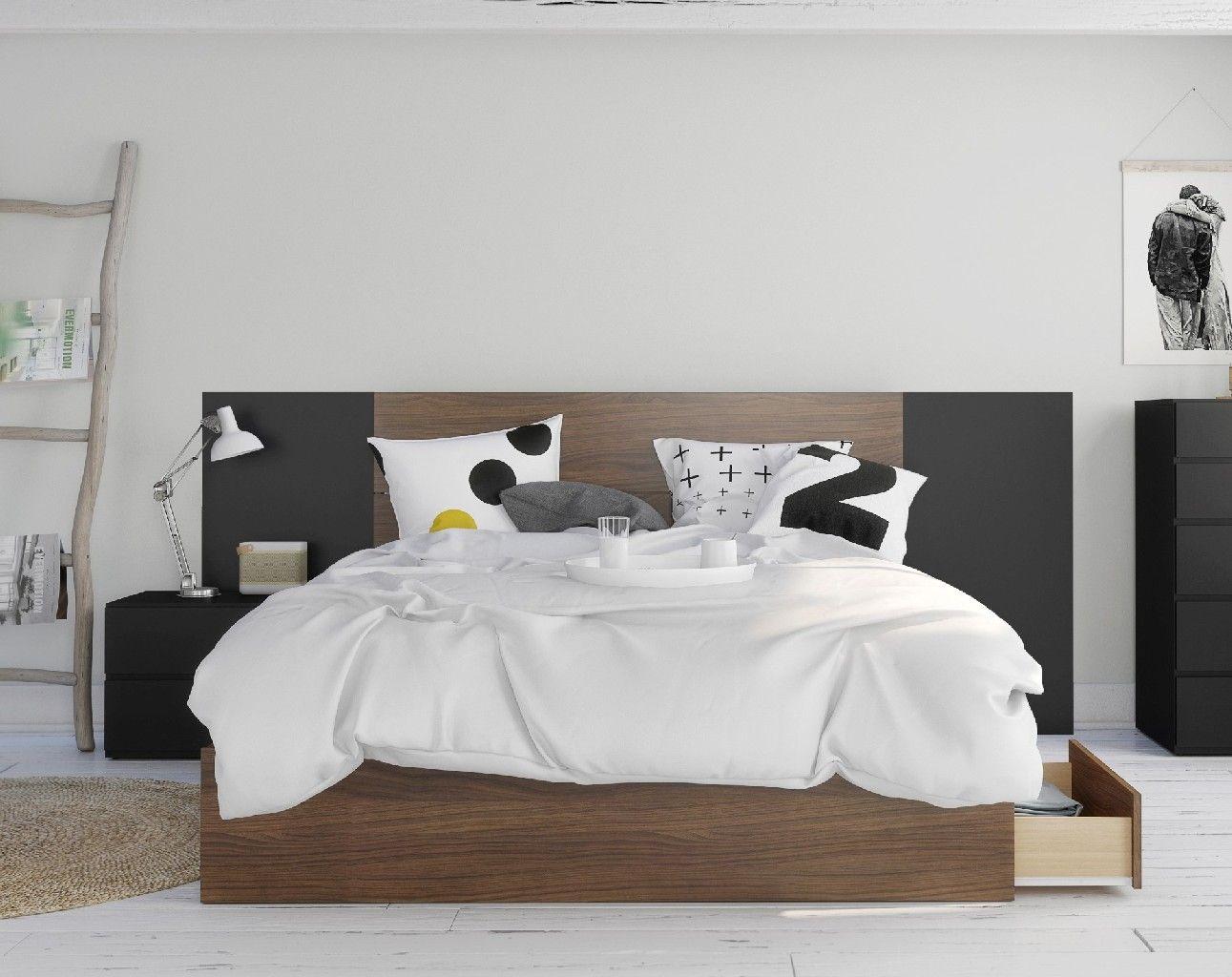 Juno 4 Piece Queen Size Bedroom Set Walnut Black Nexera