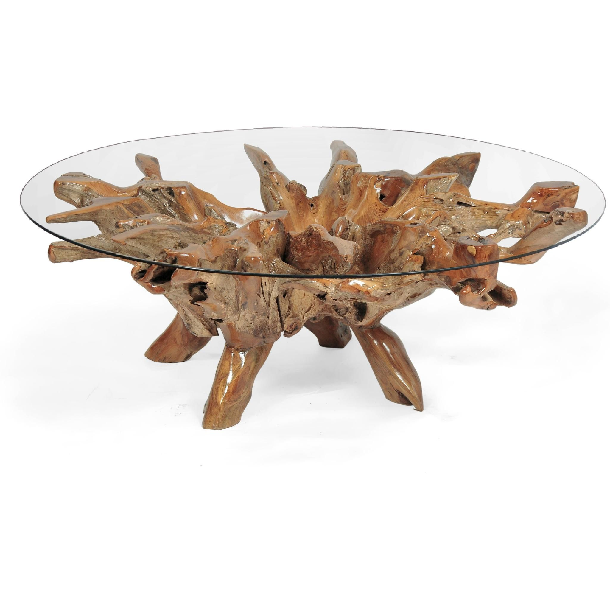 Teak Wood Root Coffee Table Including 55 Inch Round Glass Top Coffee Table Rustic Coffee Tables Organic Coffee Table [ 2048 x 2048 Pixel ]
