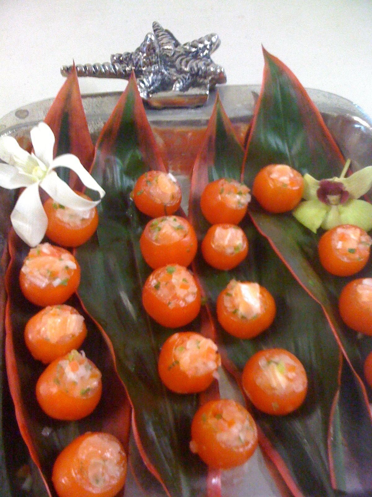 Lomi Lomi Salmon Stuffed Cherry Tomatoes