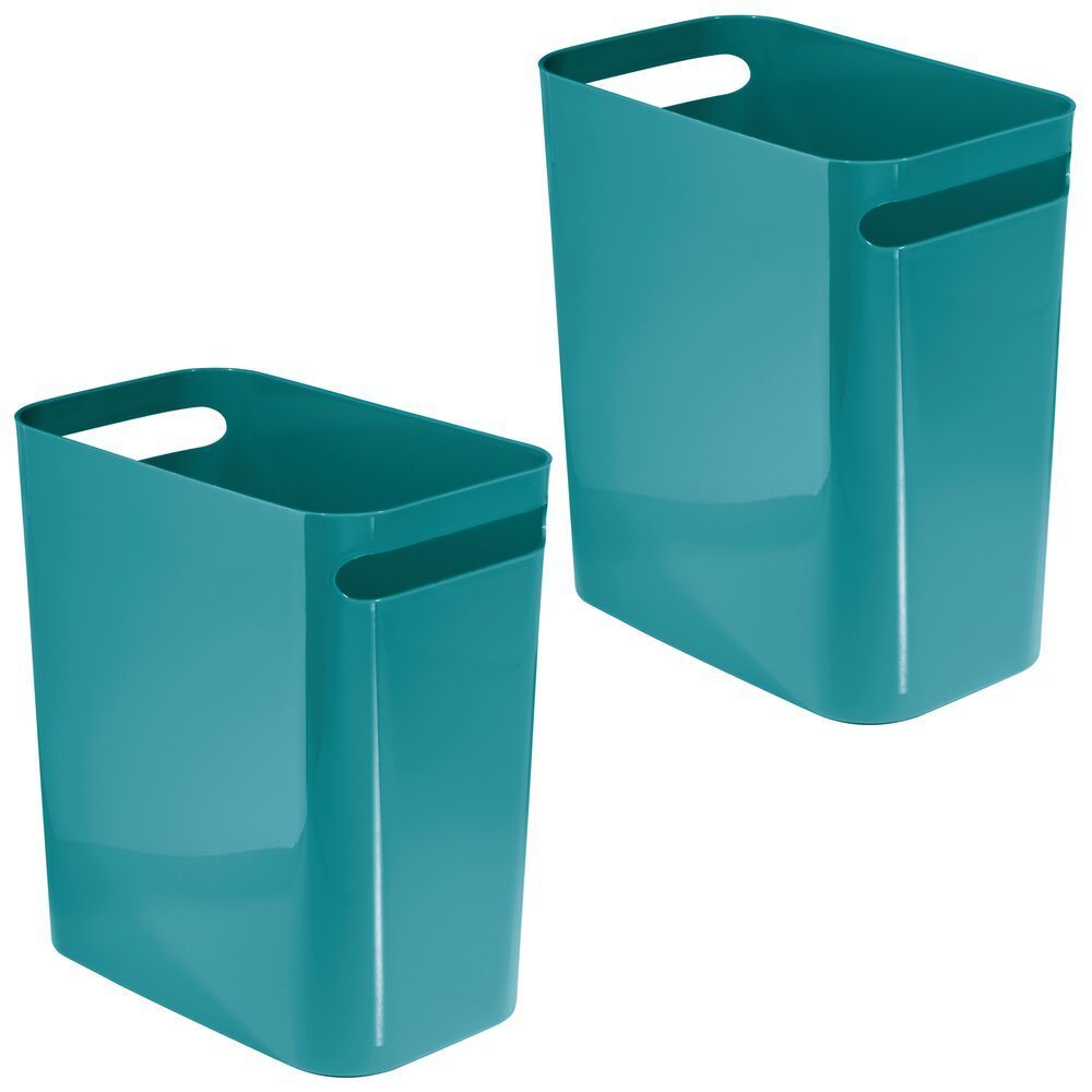 mDesign Slim Plastic Rectangular Large Trash Can Wastebasket, Garbage Container with Handles for Bathroom, Kitchen, Home Office, Dorm, Kids Room - 12
