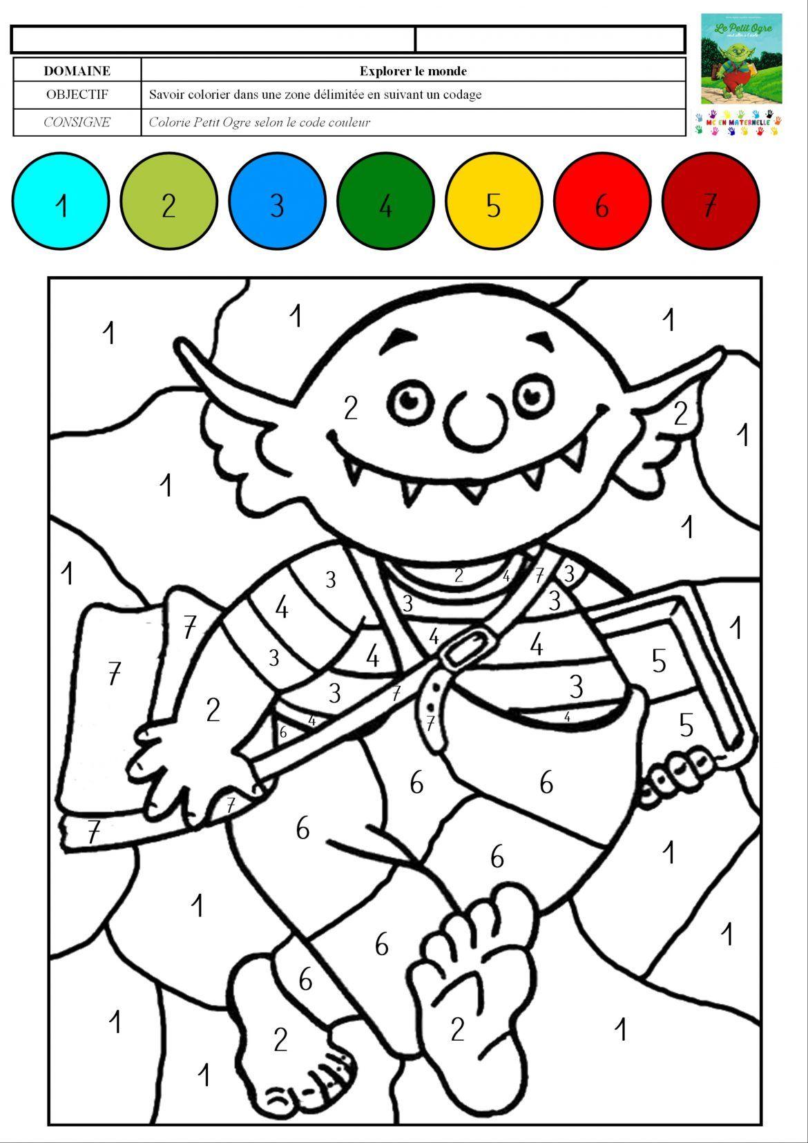Le petit ogre veut aller  l école coloriage magique avec des chiffres de