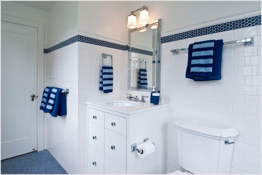 We Have Cobalt Blue Floors May As Well Work It White Subway Tile With Blue Tile Accent In Shower Traditional Bathroom White Bathroom Decor Bathroom Design