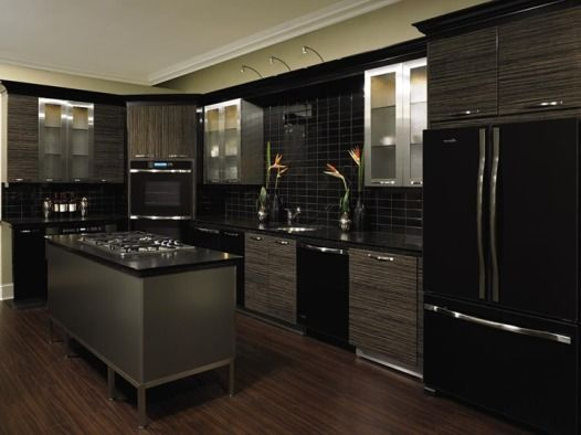 Espresso Kitchen Cabinets with Black Appliances | Black Appliances ...