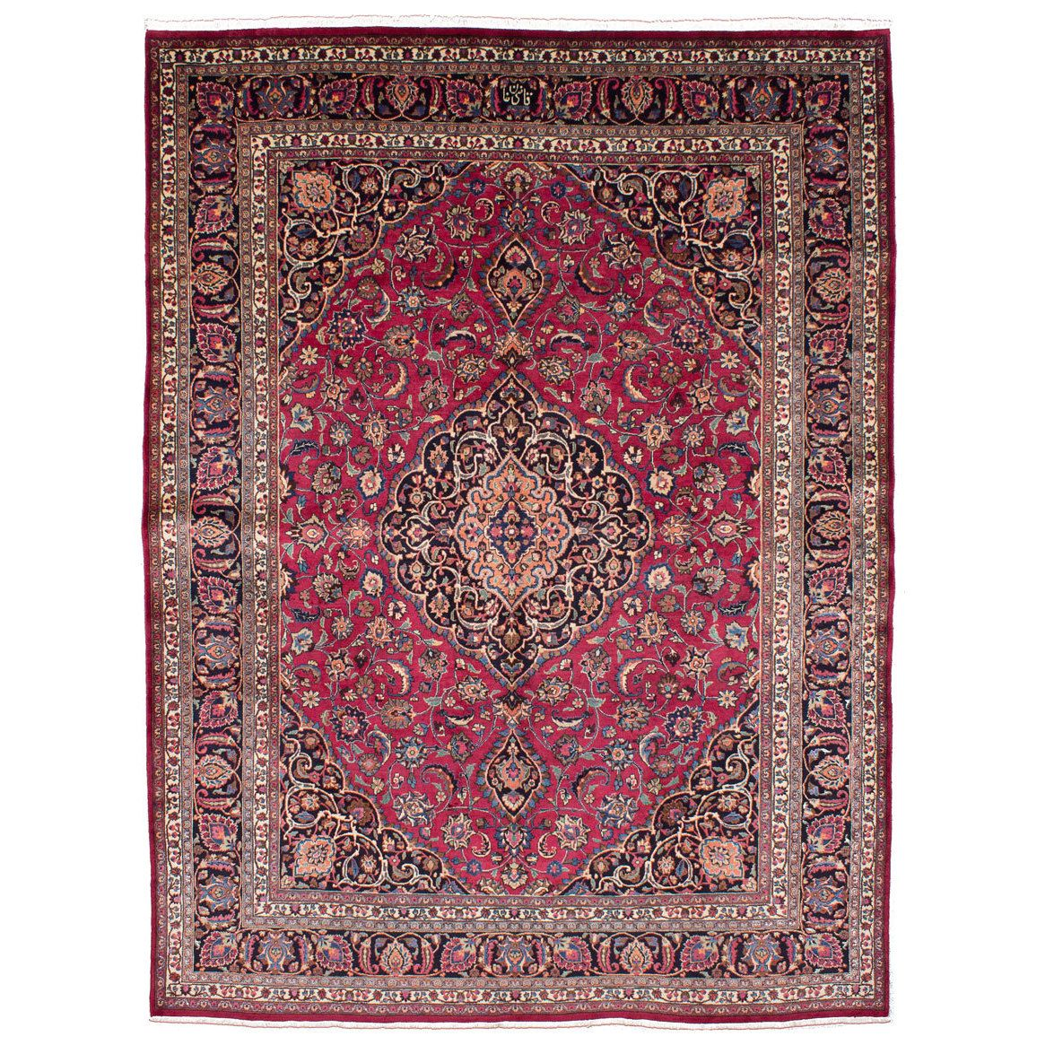 ecarpetgallery Hand Knotted Persian Mashad Red Wool Rug (9'11 x 12'8) (Red Dark Red Rug (9' x 12')), Size 9' x 12' (Cotton, Oriental)