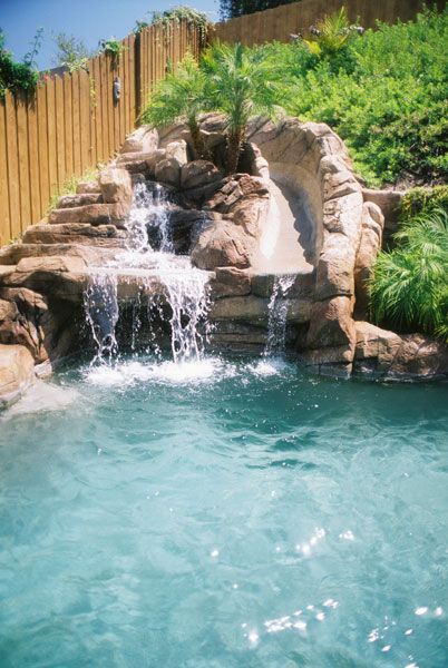 Waterfall pool slide and cave under waterfall sweet - How to build a swimming pool slide ...