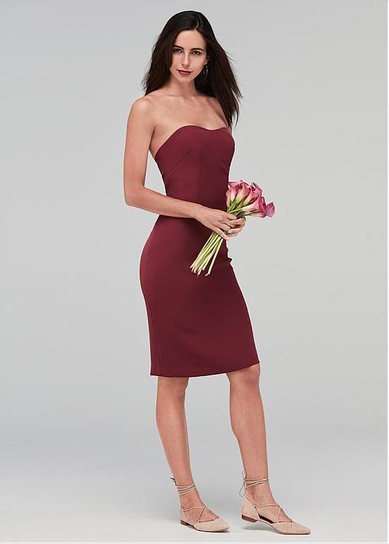 7d03950204f  Dressilyme -  Dressilyme Dressilyme Chic Acetate Satin Strapless Neckline  Knee-length Sheath Column Bridesmaid Dresses - AdoreWe.com