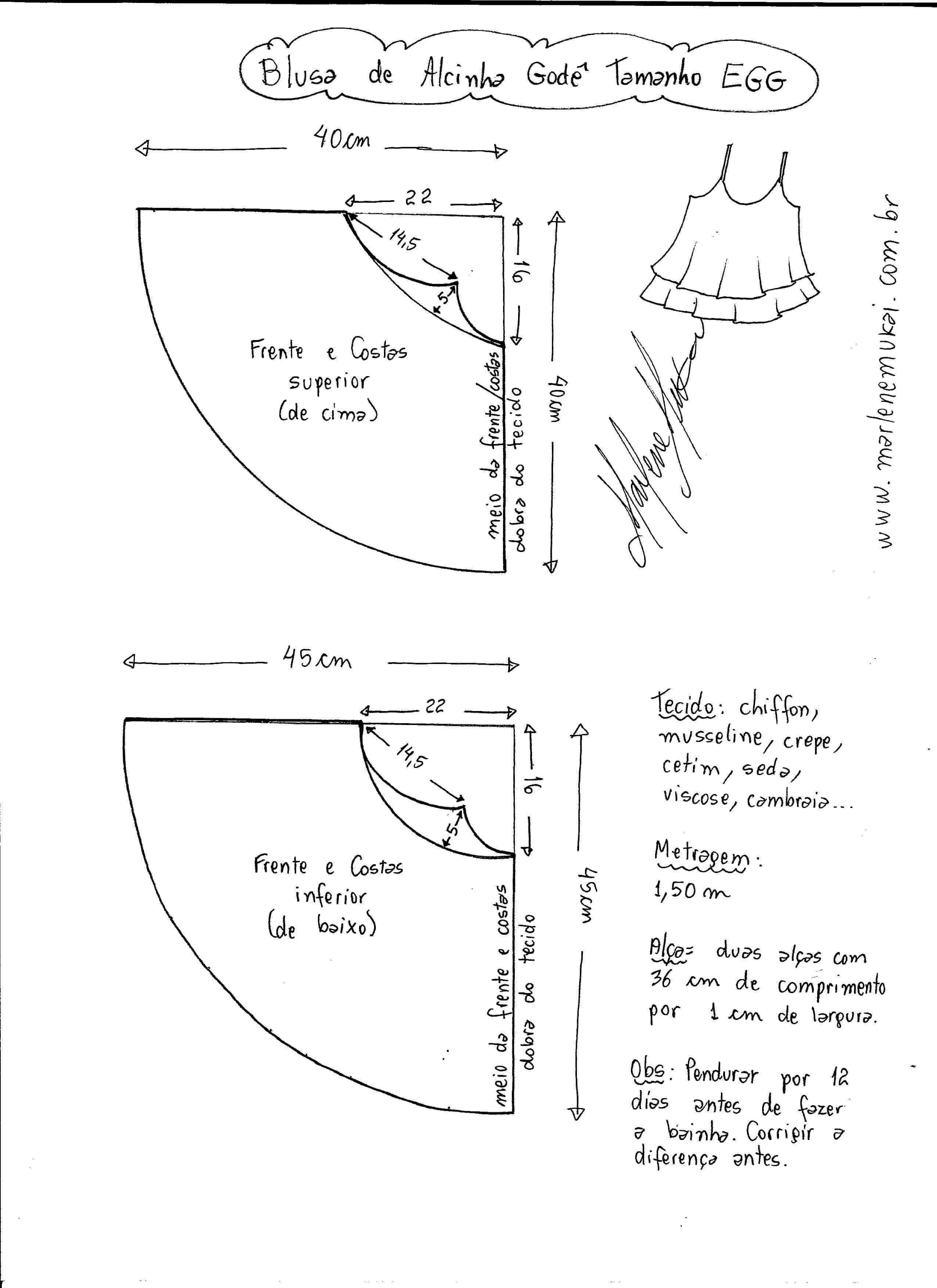 Patrón Blusa Top con tirantes para verano | sewing | Pinterest ...